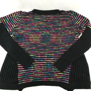 Ya Los Angeles Sweaters - Ya Neon Black Loose Knit Draped Sweater